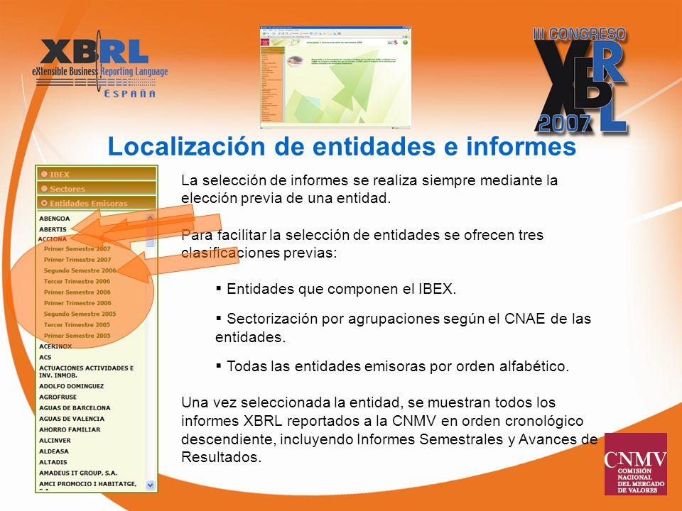 Localización de entidades e informes La selección de informes se realiza siempre mediante la elección previa de una entidad.
