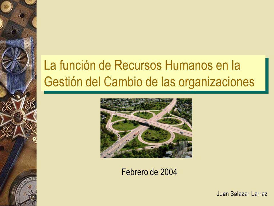 La función de Recursos Humanos en la Gestión del Cambio de las organizaciones Juan Salazar Larraz Febrero de 2004