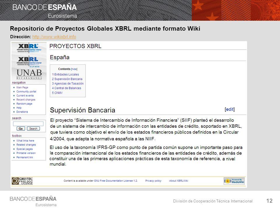 División de Cooperación Técnica Internacional 12 Repositorio de Proyectos Globales XBRL mediante formato Wiki Dirección: http://www.wikixbrl.infohttp://www.wikixbrl.info