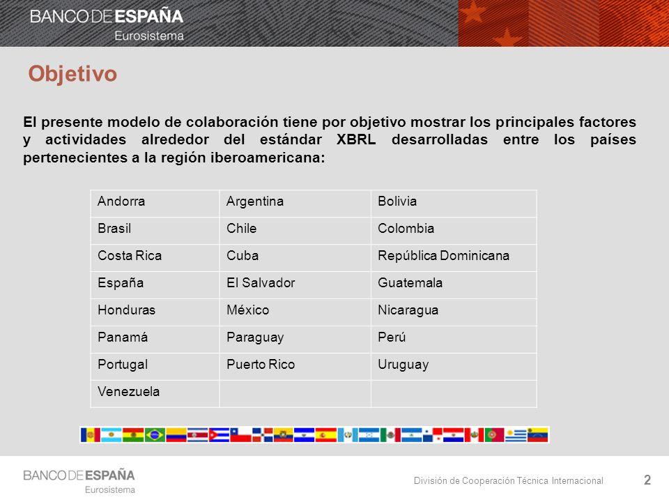 División de Cooperación Técnica Internacional Objetivo El presente modelo de colaboración tiene por objetivo mostrar los principales factores y actividades alrededor del estándar XBRL desarrolladas entre los países pertenecientes a la región iberoamericana: 2 AndorraArgentinaBolivia BrasilChileColombia Costa RicaCubaRepública Dominicana EspañaEl SalvadorGuatemala HondurasMéxicoNicaragua PanamáParaguayPerú PortugalPuerto RicoUruguay Venezuela