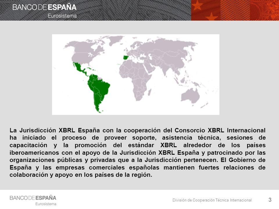 División de Cooperación Técnica Internacional La Jurisdicción XBRL España con la cooperación del Consorcio XBRL Internacional ha iniciado el proceso de proveer soporte, asistencia técnica, sesiones de capacitación y la promoción del estándar XBRL alrededor de los países iberoamericanos con el apoyo de la Jurisdicción XBRL España y patrocinado por las organizaciones públicas y privadas que a la Jurisdicción pertenecen.