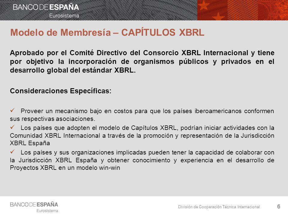 División de Cooperación Técnica Internacional Modelo de Membresía – CAPÍTULOS XBRL Aprobado por el Comité Directivo del Consorcio XBRL Internacional y tiene por objetivo la incorporación de organismos públicos y privados en el desarrollo global del estándar XBRL.