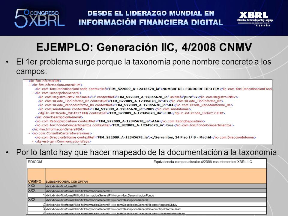 EJEMPLO: Generación IIC, 4/2008 CNMV El 1er problema surge porque la taxonomía pone nombre concreto a los campos: Por lo tanto hay que hacer mapeado d