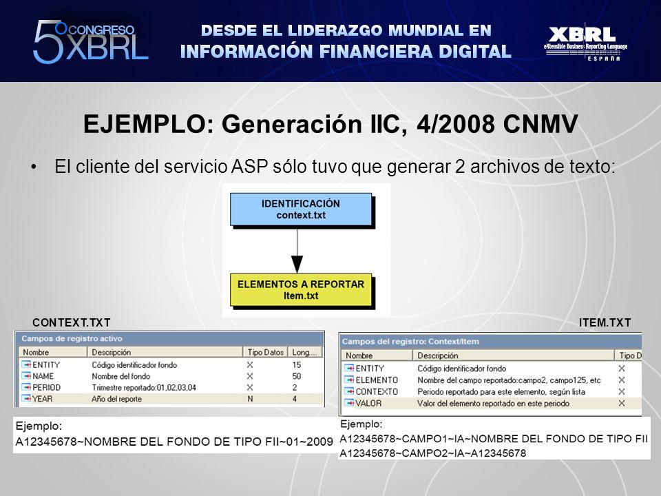 EJEMPLO: Generación IIC, 4/2008 CNMV El cliente del servicio ASP sólo tuvo que generar 2 archivos de texto: CONTEXT.TXT ITEM.TXT