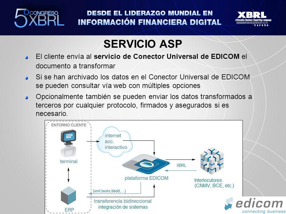 SERVICIO ASP El cliente envía al servicio de Conector Universal de EDICOM el documento a transformar Si se han archivado los datos en el Conector Univ