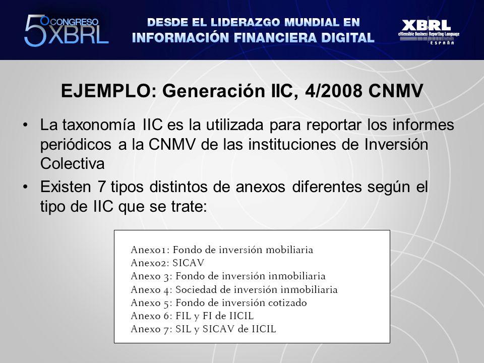 EJEMPLO: Generación IIC, 4/2008 CNMV La taxonomía IIC es la utilizada para reportar los informes periódicos a la CNMV de las instituciones de Inversió