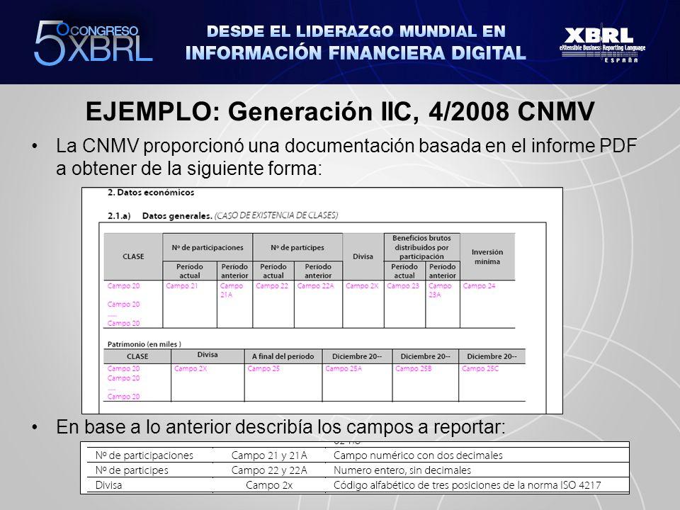 EJEMPLO: Generación IIC, 4/2008 CNMV La CNMV proporcionó una documentación basada en el informe PDF a obtener de la siguiente forma: En base a lo ante