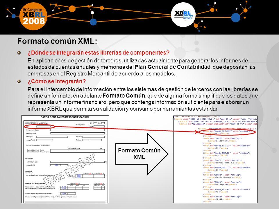 Formato común XML: ¿Dónde se integrarán estas librerías de componentes? En aplicaciones de gestión de terceros, utilizadas actualmente para generar lo