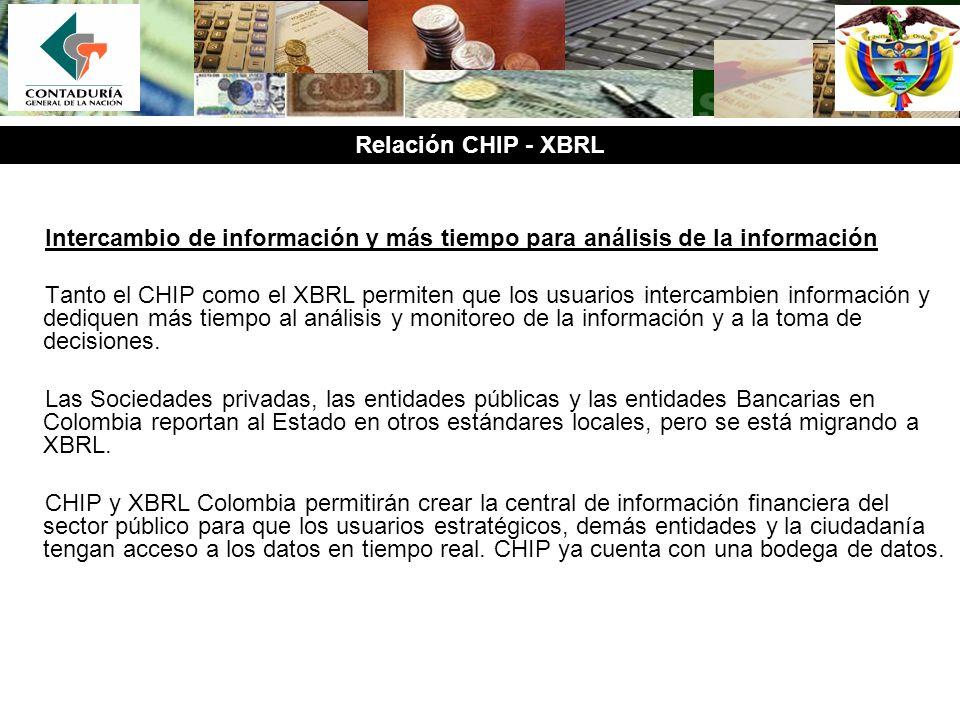 Intercambio de información y más tiempo para análisis de la información Tanto el CHIP como el XBRL permiten que los usuarios intercambien información