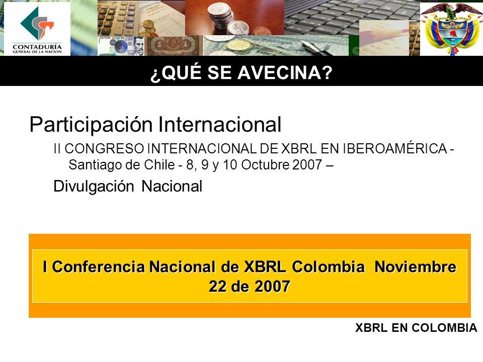 ¿QUÉ SE AVECINA? Participación Internacional II CONGRESO INTERNACIONAL DE XBRL EN IBEROAMÉRICA - Santiago de Chile - 8, 9 y 10 Octubre 2007 – Divulgac