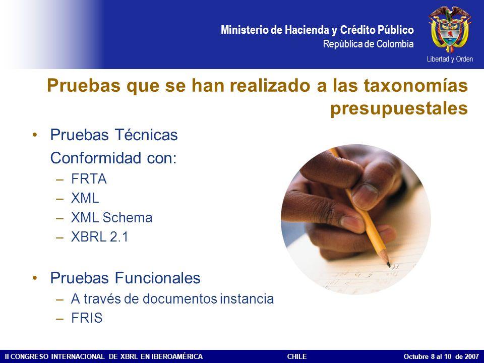 Ministerio de Hacienda y Crédito Público República de Colombia II CONGRESO INTERNACIONAL DE XBRL EN IBEROAMÉRICACHILE Octubre 8 al 10 de 2007 Pruebas