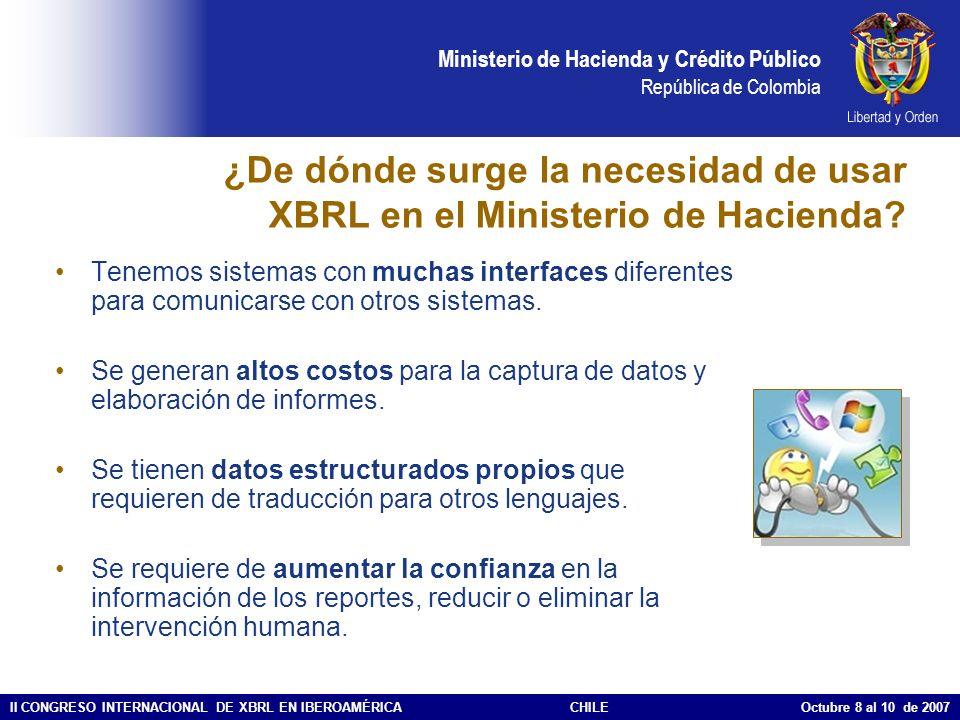 Ministerio de Hacienda y Crédito Público República de Colombia II CONGRESO INTERNACIONAL DE XBRL EN IBEROAMÉRICACHILE Octubre 8 al 10 de 2007 ¿De dónd