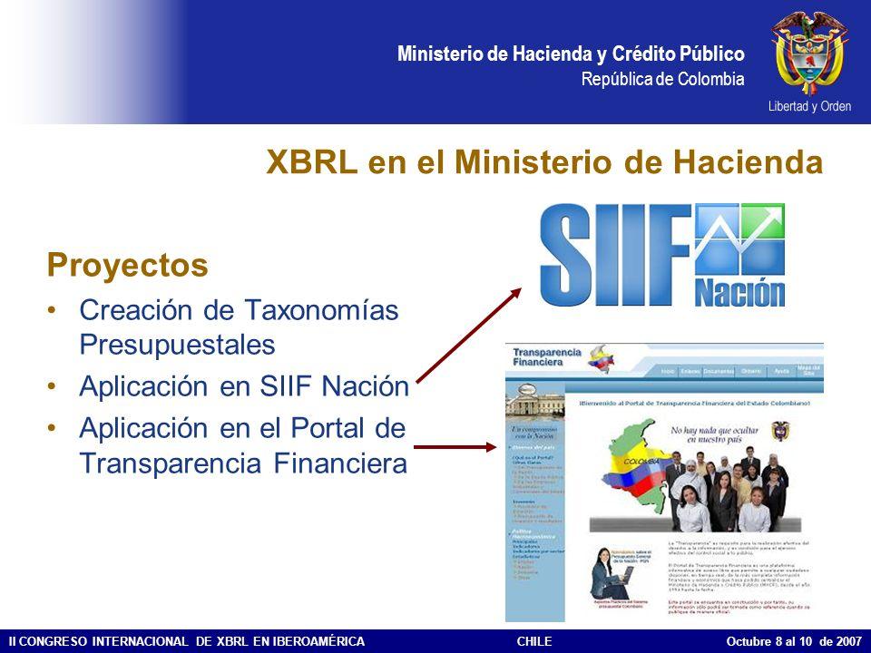Ministerio de Hacienda y Crédito Público República de Colombia II CONGRESO INTERNACIONAL DE XBRL EN IBEROAMÉRICACHILE Octubre 8 al 10 de 2007 Ejemplo de reporte XBRL de Transparencia Financiera