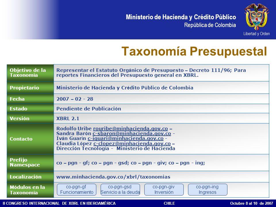 Ministerio de Hacienda y Crédito Público República de Colombia II CONGRESO INTERNACIONAL DE XBRL EN IBEROAMÉRICACHILE Octubre 8 al 10 de 2007 ¿Qué viene a Futuro en Hacienda.