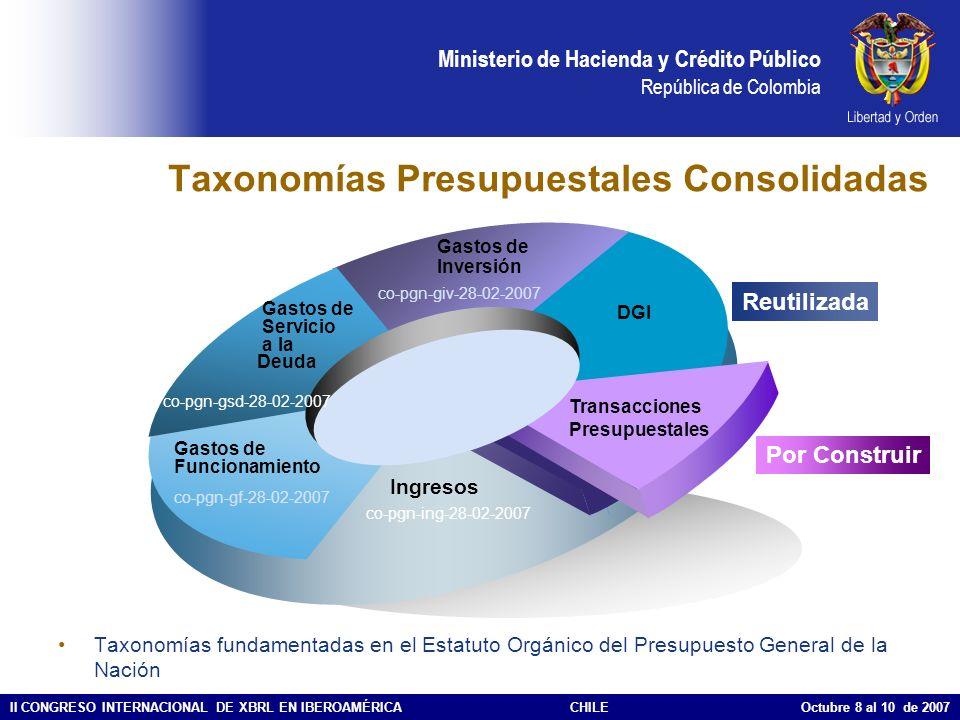 Ministerio de Hacienda y Crédito Público República de Colombia II CONGRESO INTERNACIONAL DE XBRL EN IBEROAMÉRICACHILE Octubre 8 al 10 de 2007 Taxonomí