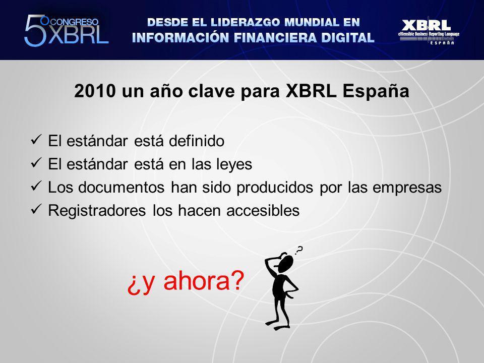 2010 un año clave para XBRL España El estándar está definido El estándar está en las leyes Los documentos han sido producidos por las empresas Registradores los hacen accesibles ¿y ahora
