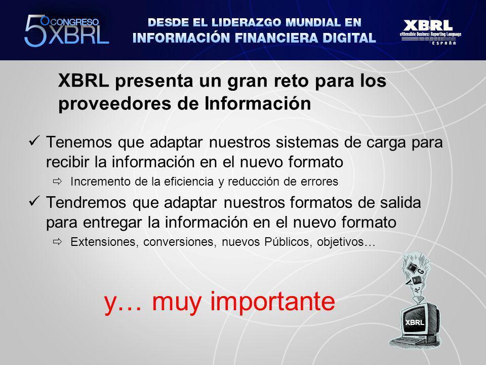 XBRL presenta un gran reto para los proveedores de Información Tenemos que adaptar nuestros sistemas de carga para recibir la información en el nuevo formato Incremento de la eficiencia y reducción de errores Tendremos que adaptar nuestros formatos de salida para entregar la información en el nuevo formato Extensiones, conversiones, nuevos Públicos, objetivos… y… muy importante XBRL