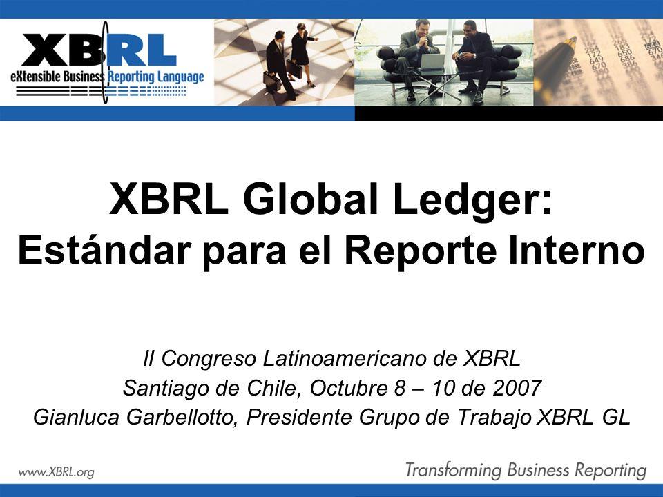 XBRL Global Ledger: Estándar para el Reporte Interno II Congreso Latinoamericano de XBRL Santiago de Chile, Octubre 8 – 10 de 2007 Gianluca Garbellott