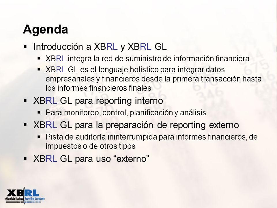 Agenda Introducción a XBRL y XBRL GL XBRL integra la red de suministro de información financiera XBRL GL es el lenguaje holístico para integrar datos