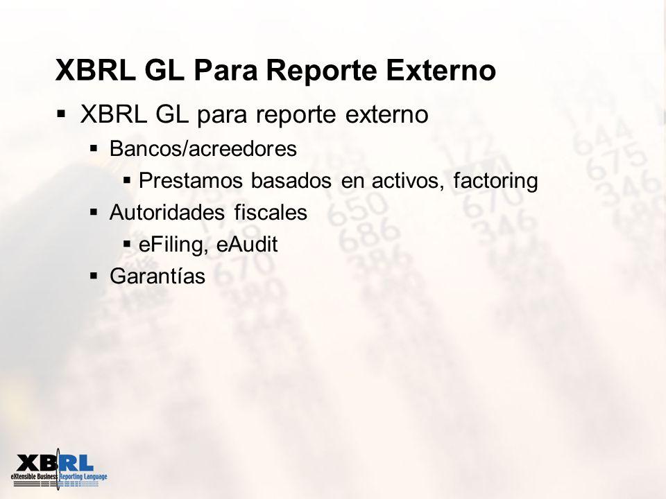 XBRL GL Para Reporte Externo XBRL GL para reporte externo Bancos/acreedores Prestamos basados en activos, factoring Autoridades fiscales eFiling, eAud