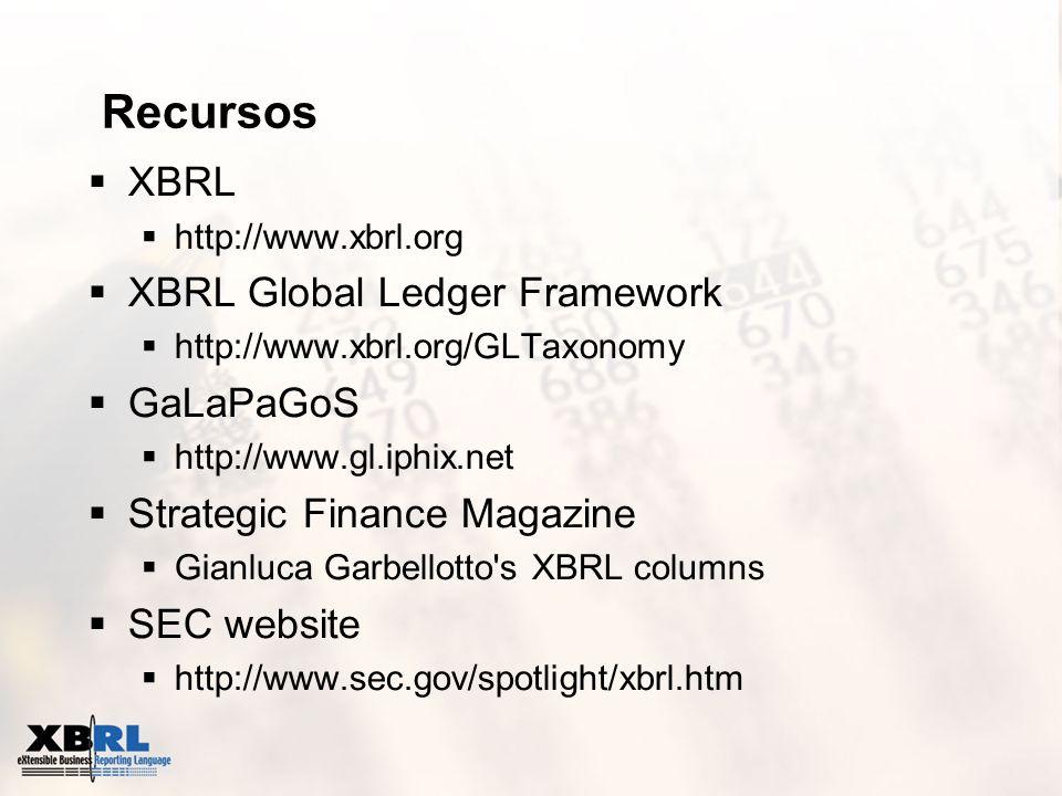 Recursos XBRL http://www.xbrl.org XBRL Global Ledger Framework http://www.xbrl.org/GLTaxonomy GaLaPaGoS http://www.gl.iphix.net Strategic Finance Maga