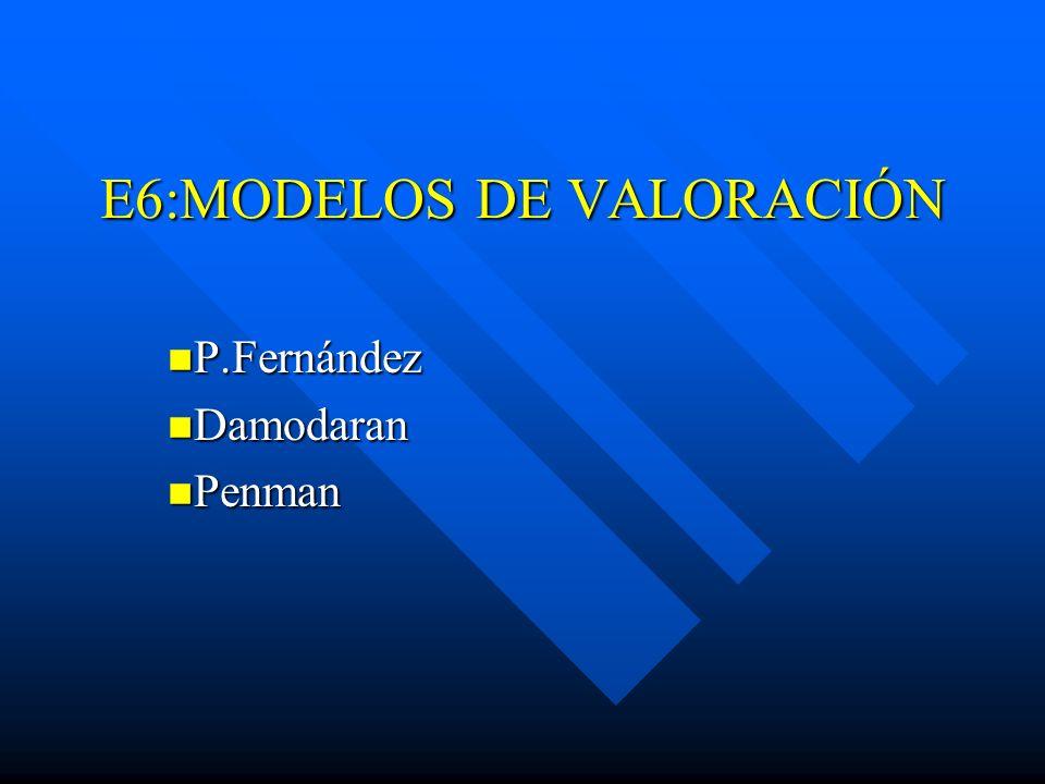 E6:MODELOS DE VALORACIÓN P.Fernández P.Fernández Damodaran Damodaran Penman Penman