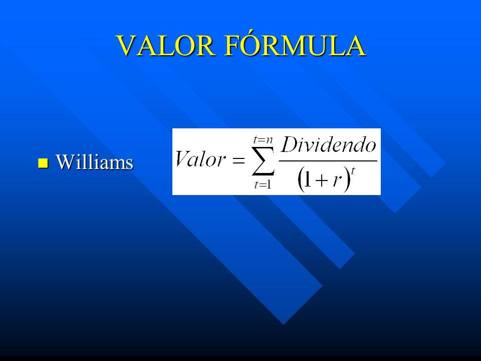 VALOR FÓRMULA Williams Williams