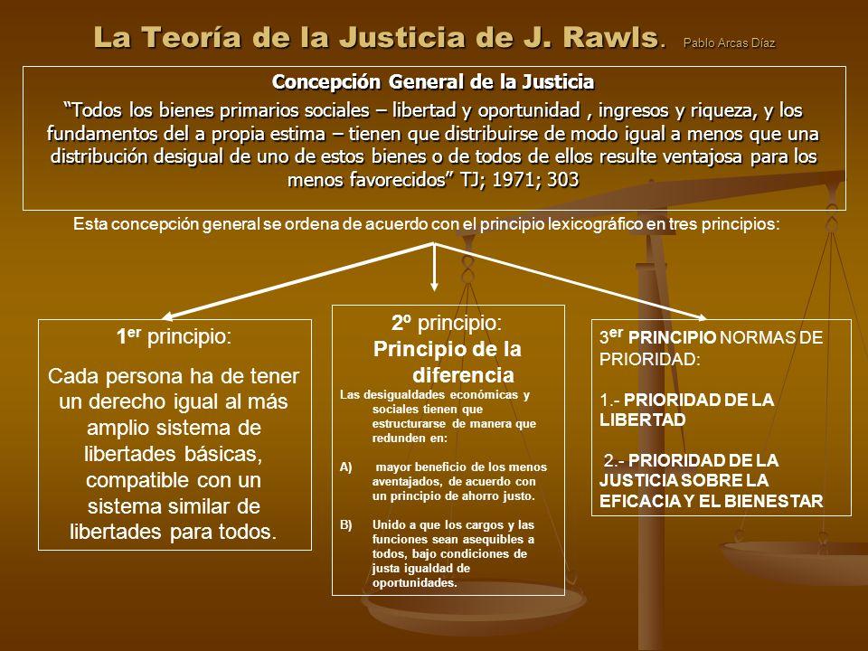 La Teoría de la Justicia de J. Rawls. Pablo Arcas Díaz Concepción General de la Justicia Todos los bienes primarios sociales – libertad y oportunidad,