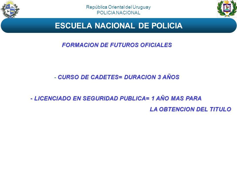 República Oriental del Uruguay POLICIA NACIONAL ESCUELA NACIONAL DE POLICIA FORMACION DE FUTUROS OFICIALES - CURSO DE CADETES= DURACION 3 AÑOS - LICEN