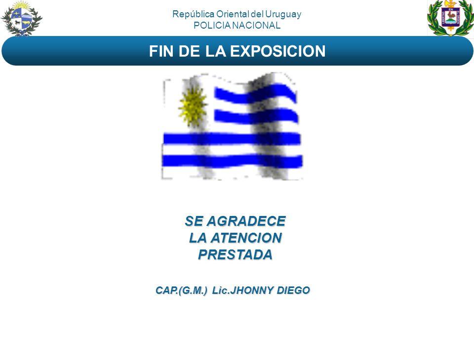 SE AGRADECE LA ATENCION PRESTADA República Oriental del Uruguay POLICIA NACIONAL FIN DE LA EXPOSICION CAP.(G.M.) Lic.JHONNY DIEGO