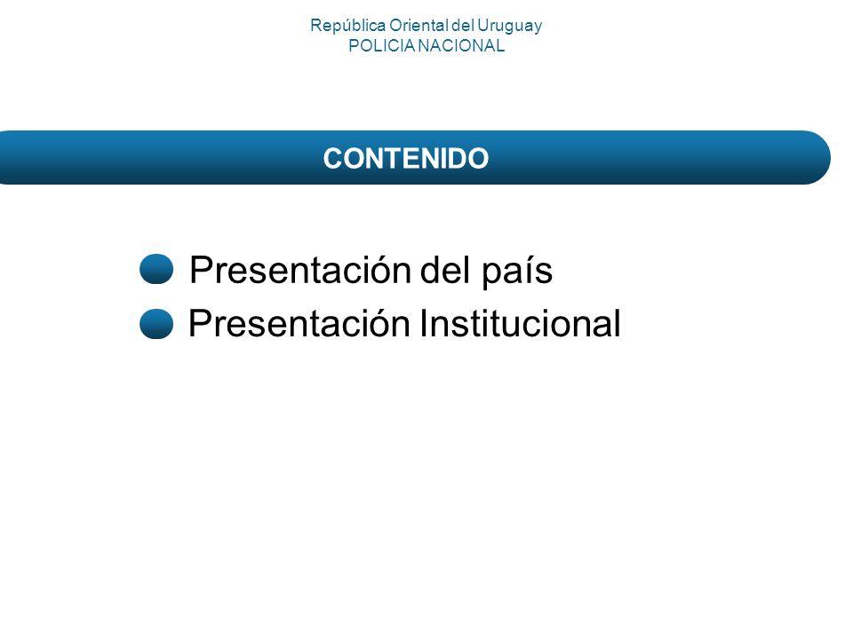 Presentación del país Presentación Institucional República Oriental del Uruguay POLICIA NACIONAL CONTENIDO