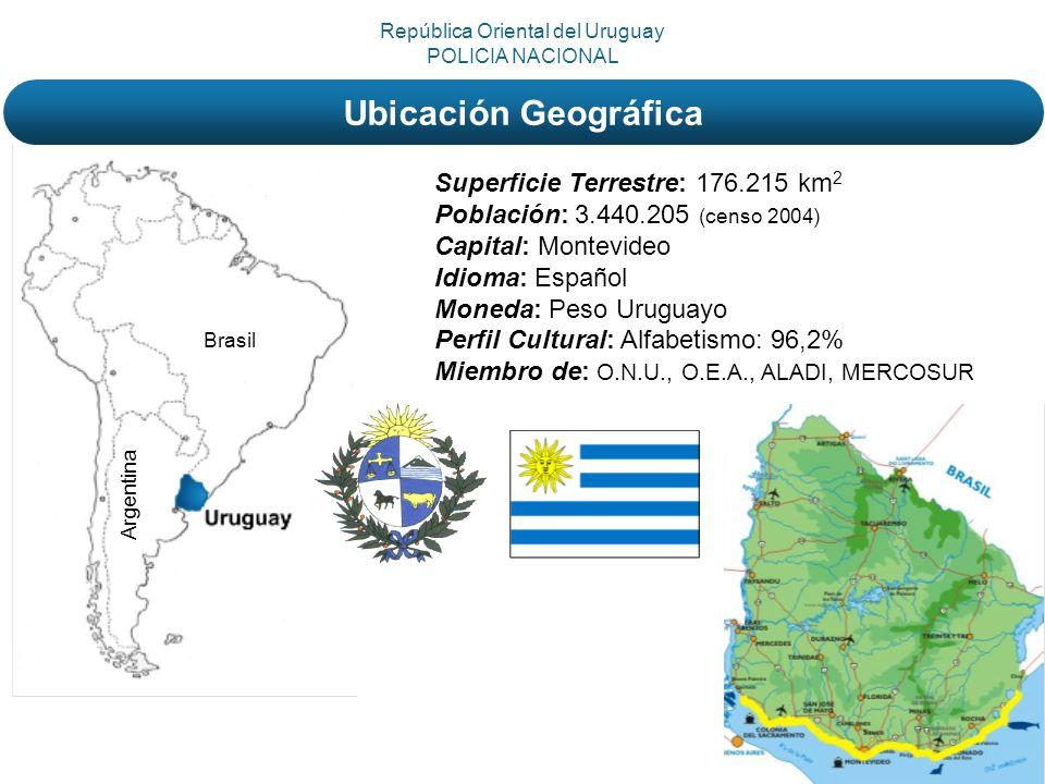 Brasil Argentina Superficie Terrestre: 176.215 km 2 Población: 3.440.205 (censo 2004) Capital: Montevideo Idioma: Español Moneda: Peso Uruguayo Perfil