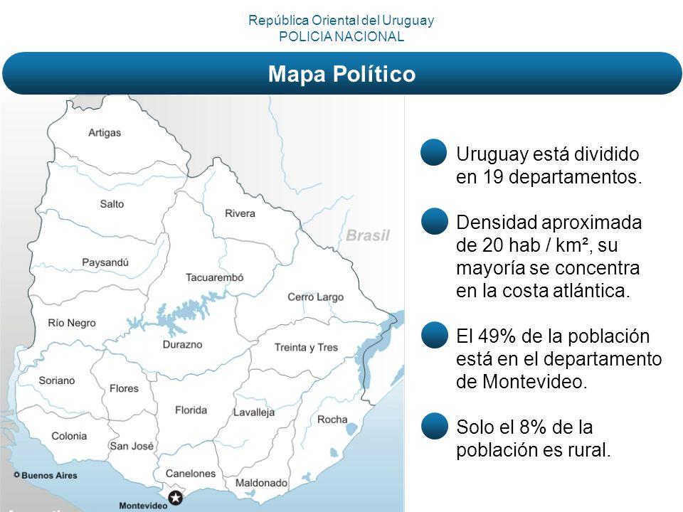 Uruguay está dividido en 19 departamentos. Densidad aproximada de 20 hab / km², su mayoría se concentra en la costa atlántica. El 49% de la población