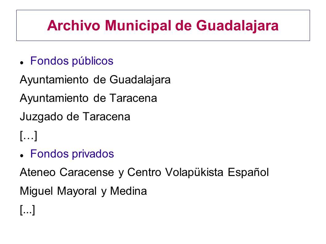 Archivo Municipal de Guadalajara Fondos públicos Ayuntamiento de Guadalajara Ayuntamiento de Taracena Juzgado de Taracena […] Fondos privados Ateneo C