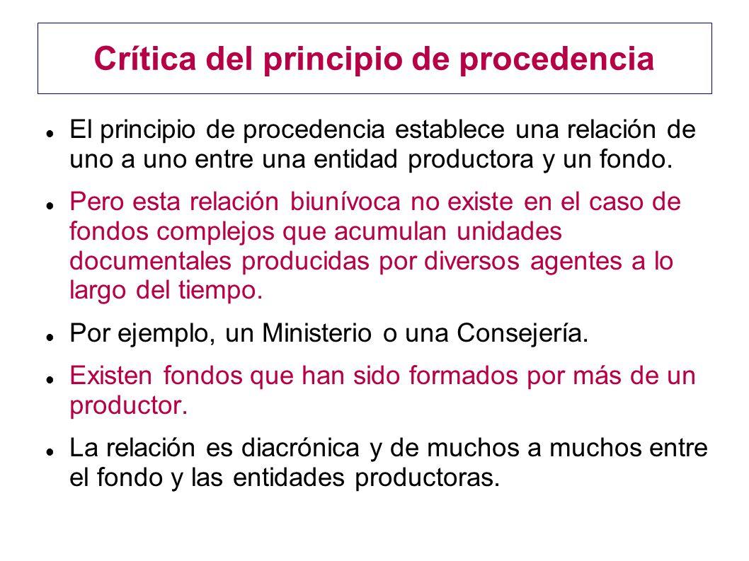 Crítica del principio de procedencia El principio de procedencia establece una relación de uno a uno entre una entidad productora y un fondo. Pero est