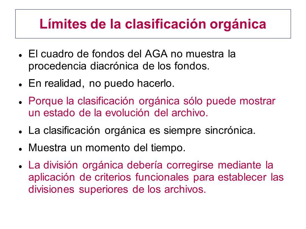 Límites de la clasificación orgánica El cuadro de fondos del AGA no muestra la procedencia diacrónica de los fondos. En realidad, no puedo hacerlo. Po