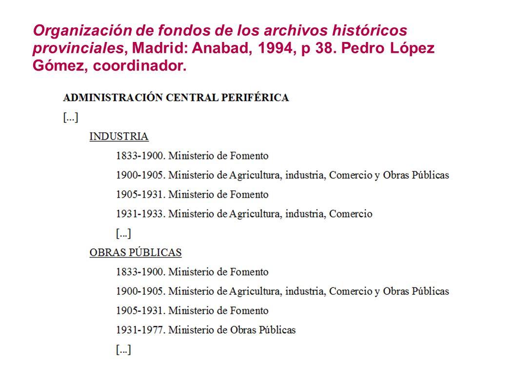 Organización de fondos de los archivos históricos provinciales, Madrid: Anabad, 1994, p 38. Pedro López Gómez, coordinador.