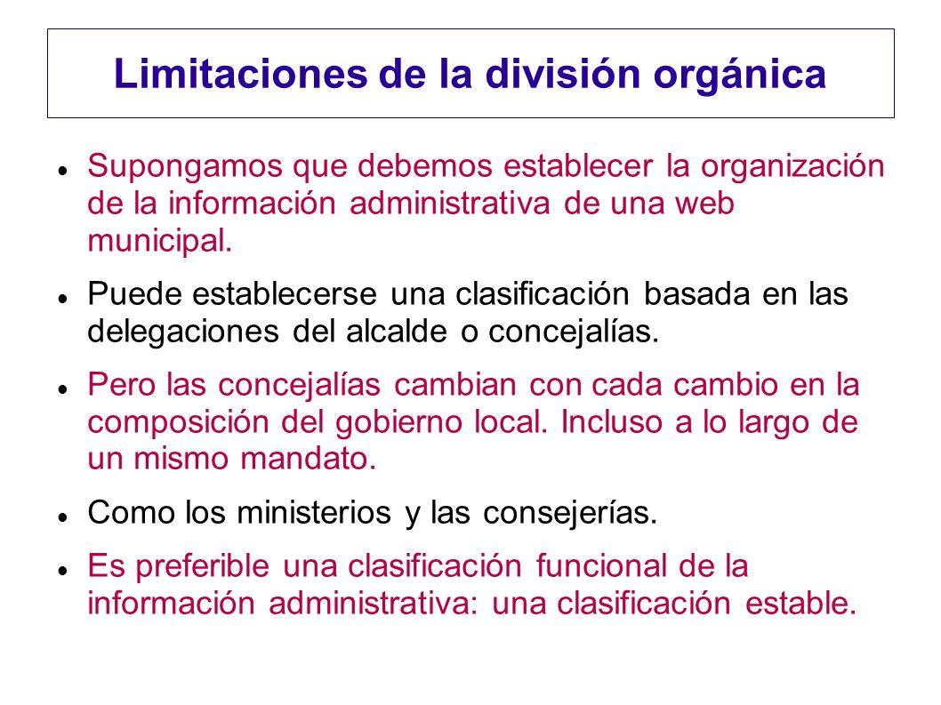 Limitaciones de la división orgánica Supongamos que debemos establecer la organización de la información administrativa de una web municipal. Puede es
