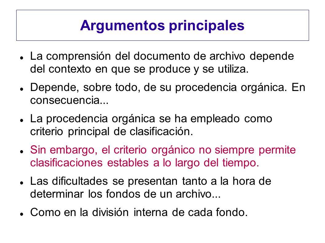 Argumentos principales La comprensión del documento de archivo depende del contexto en que se produce y se utiliza. Depende, sobre todo, de su procede