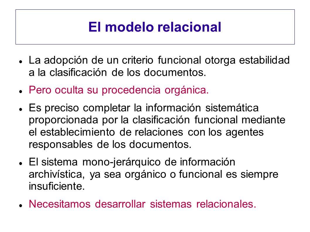 El modelo relacional La adopción de un criterio funcional otorga estabilidad a la clasificación de los documentos. Pero oculta su procedencia orgánica