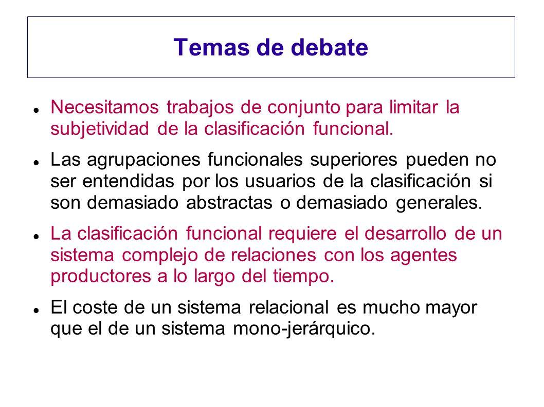 Temas de debate Necesitamos trabajos de conjunto para limitar la subjetividad de la clasificación funcional. Las agrupaciones funcionales superiores p