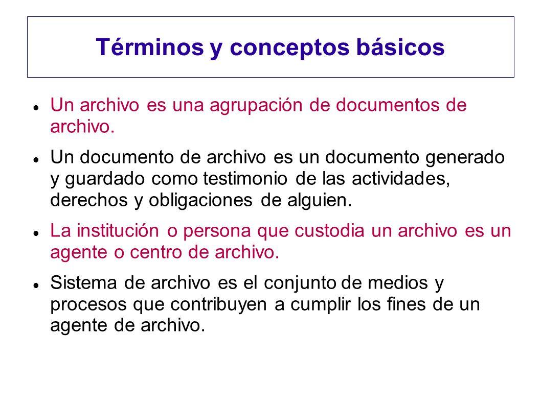 Términos y conceptos básicos Un archivo es una agrupación de documentos de archivo. Un documento de archivo es un documento generado y guardado como t