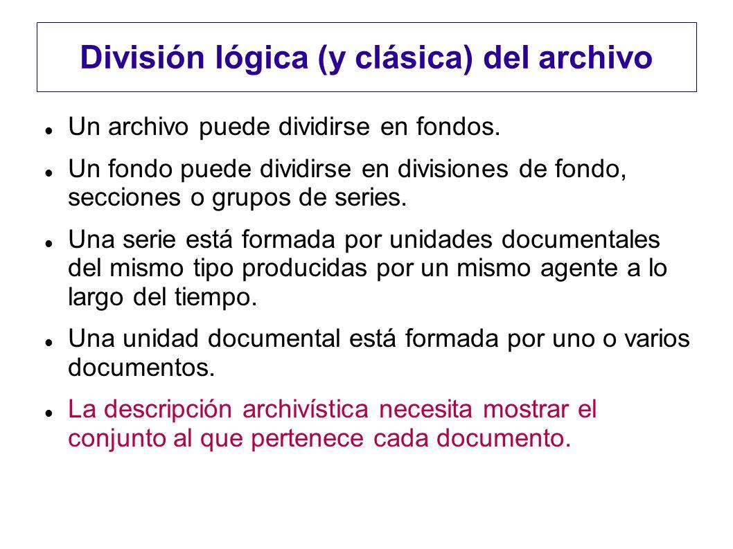 División lógica (y clásica) del archivo Un archivo puede dividirse en fondos. Un fondo puede dividirse en divisiones de fondo, secciones o grupos de s