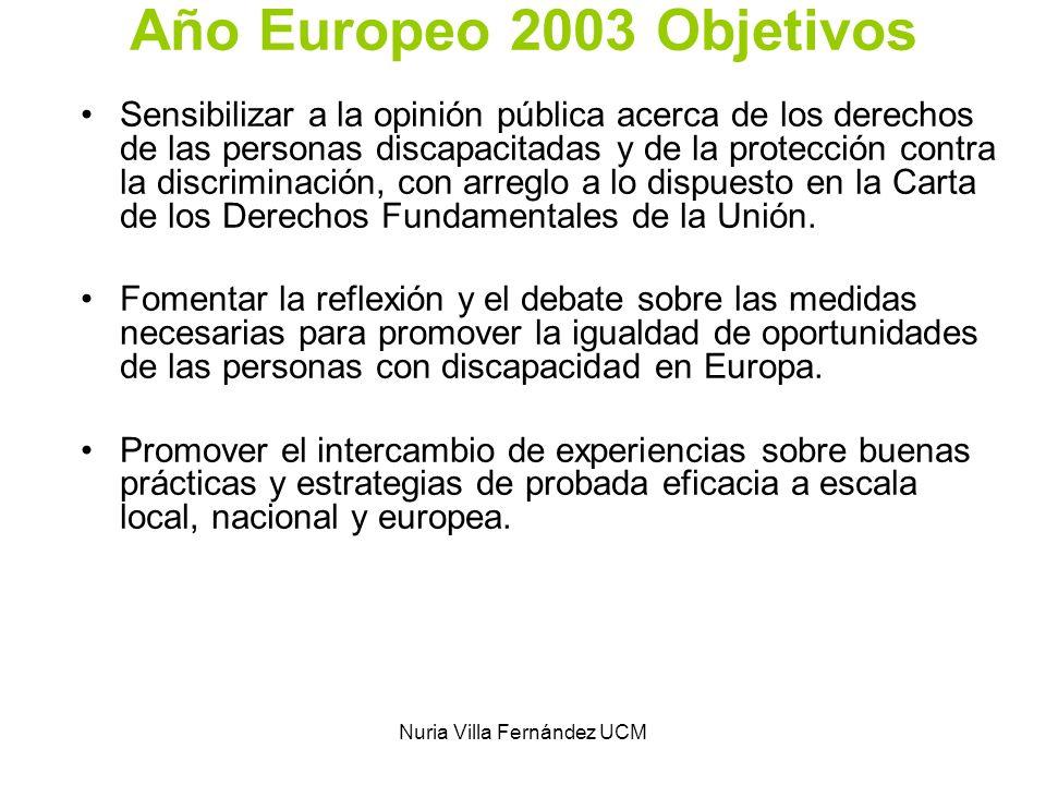 Nuria Villa Fernández UCM Año Europeo 2003 Objetivos Sensibilizar a la opinión pública acerca de los derechos de las personas discapacitadas y de la p