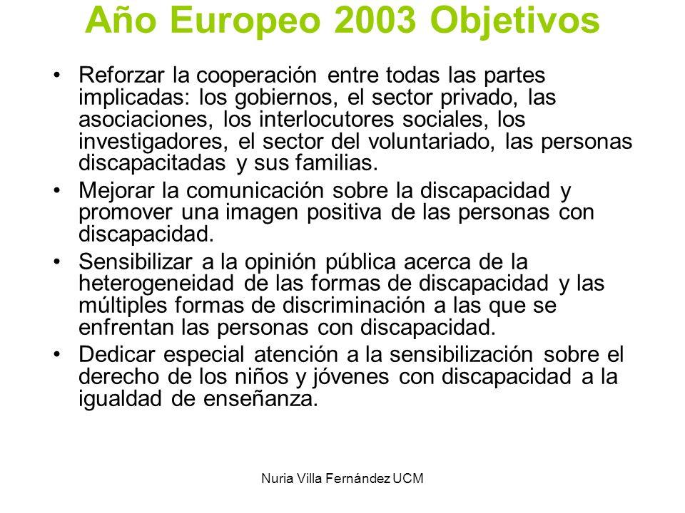 Nuria Villa Fernández UCM Año Europeo 2003 Objetivos Reforzar la cooperación entre todas las partes implicadas: los gobiernos, el sector privado, las