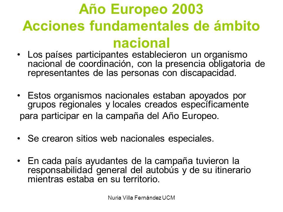 Nuria Villa Fernández UCM Año Europeo 2003 Acciones fundamentales de ámbito nacional Los países participantes establecieron un organismo nacional de c