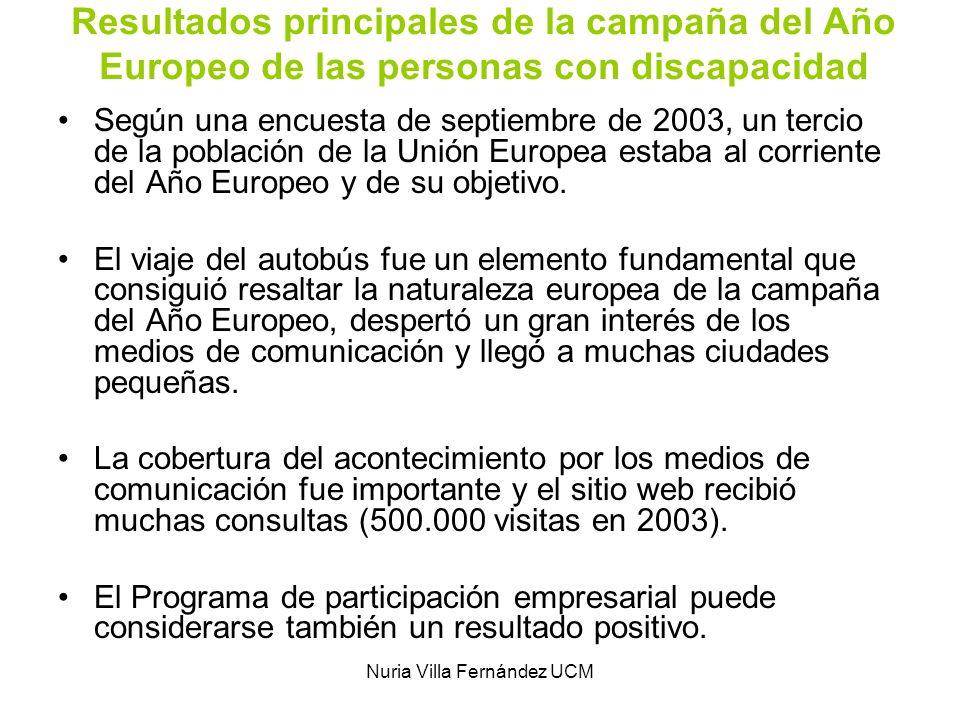 Nuria Villa Fernández UCM Resultados principales de la campaña del Año Europeo de las personas con discapacidad Según una encuesta de septiembre de 20