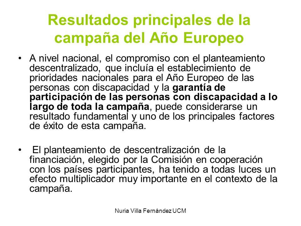Nuria Villa Fernández UCM Resultados principales de la campaña del Año Europeo A nivel nacional, el compromiso con el planteamiento descentralizado, q