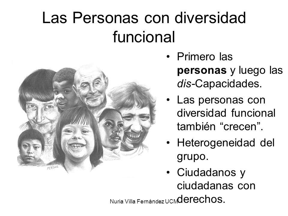 Nuria Villa Fernández UCM Nuevas concepciones, nuevos cambios, nuevas realidades Diversidad Funcional MODELO SOCIAL Vida Independiente DERECHOS HUMANOS Inclusión Social