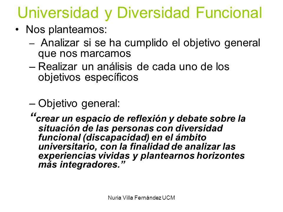 Nuria Villa Fernández UCM Universidad y Diversidad Funcional Nos planteamos: – Analizar si se ha cumplido el objetivo general que nos marcamos –Realiz